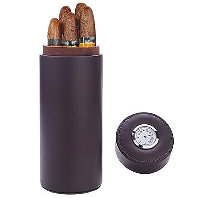 Caja de puros, madera de cedro forrado de cuero con humidificador de puros humidor portátil de viaje