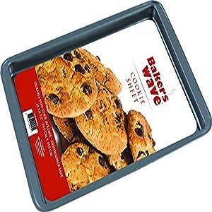 "Home Basics BW44005 Non-Stick Cookie Baking Sheet, 14.6"" x 10.2"", Dark Grey"
