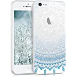 kwmobile Hülle für Apple iPhone SE / 5 / 5S - TPU Silikon Backcover Case Handy Schutzhülle - Cover klar Indische Sonne Design Blau Weiß Transparent