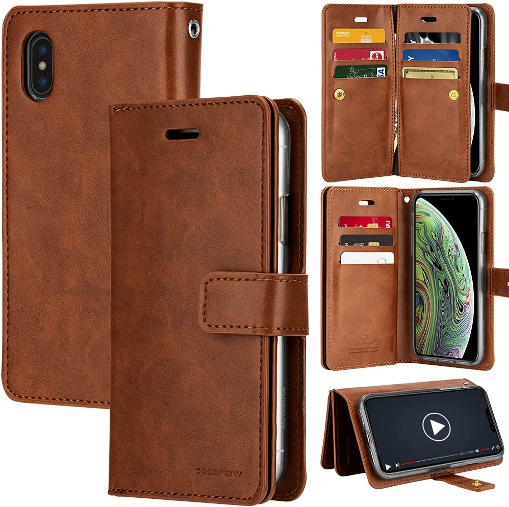 Goospery Mansoor iPhone Xs (2018) iPhone X (2017) Leather Wallet Case Double Sided Card Holder [9 Card Slots, 2 Money Pockets] Protective Folio Flip Cover Case (Brown) IPX-Man-BRN