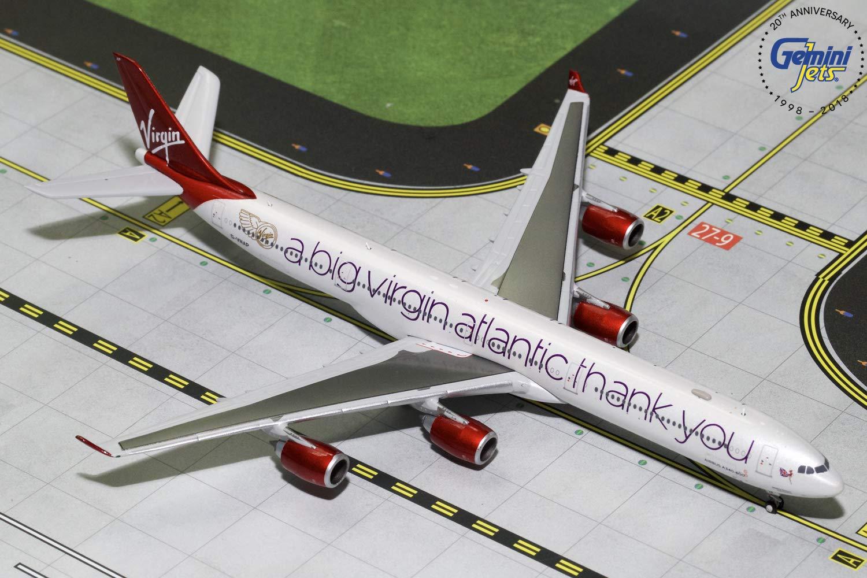 GeminiJets GJVIR1766 Virgin Atlantic A340-600 G-Vnap 1: 400 Scale Diecast Model Airplane, Red