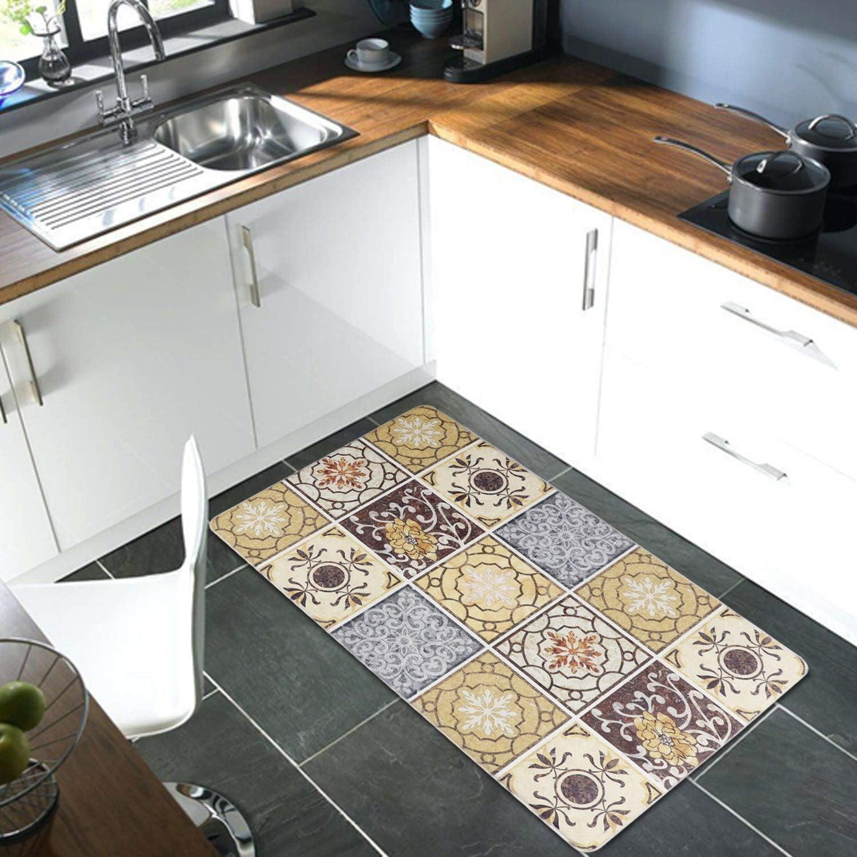 """XN Kitchen Rug,Anti Fatigue Kitchen Mat 17""""×30"""" Memory Foam Comfort Area Rugs No-Slip Water & Oil Proof Throw Carpet Decor for Floor Bathroom Living Room Office Front Door Sink (Brown)"""