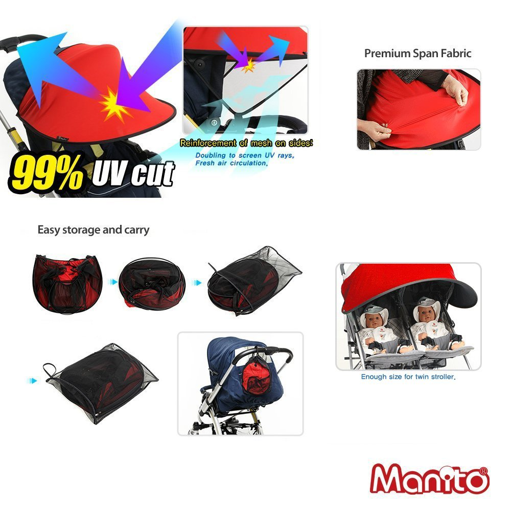 Manito Sun Shade for Twin Stroller (Black) UTST-35000