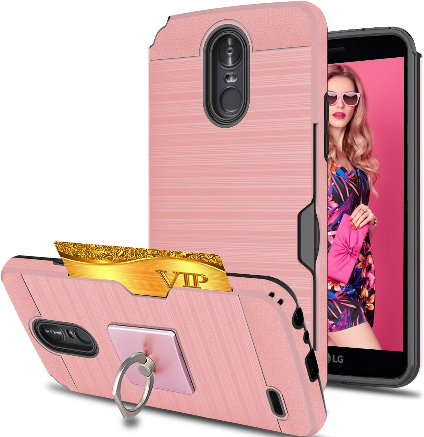 LG Stylo 3 /Stylus 3/Stylo 3 Plus Case with Phone Stand,Ymhxcy [Credit Card Slots Holder][Metal Brushed Texture] Hybrid Dual Layer Full-Body Shockproof Protective Cover Shell LG LS777-LCK Rose Gold