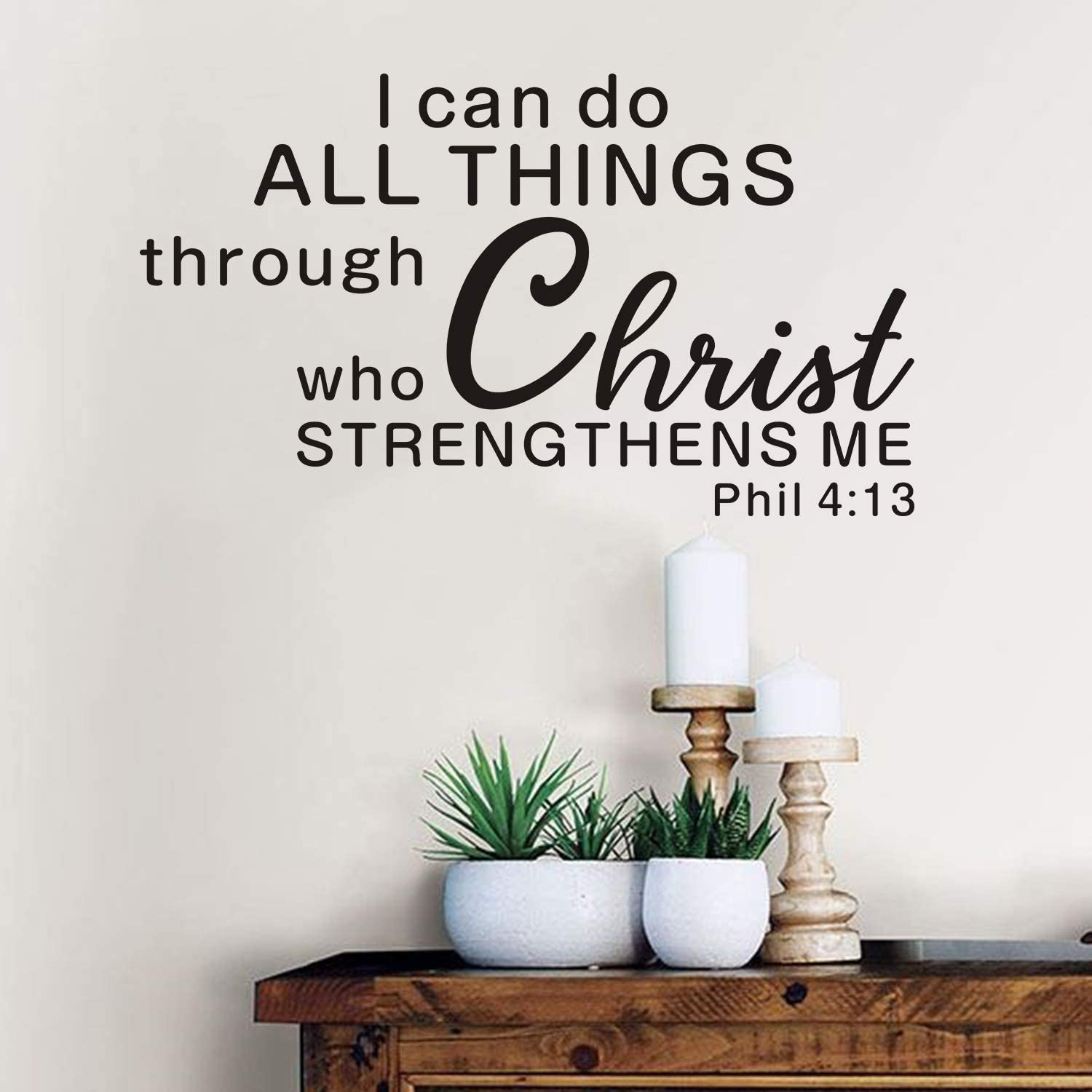 AnFigure Wall Decals for Living Room, Inspirational Wall Decals, Quotes Bible Verse Biblical Church Religious Vinyl Art Home Decor Sticker I Can Do All Things Through Christ Who Strengthens Me 21
