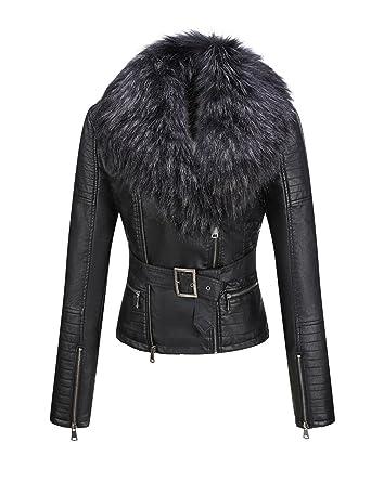 82f5ca02996 Amazon.com: Bellivera Women's Faux Leather Short Jacket, Moto Jacket with  Detachable Faux Fur Collar: Clothing