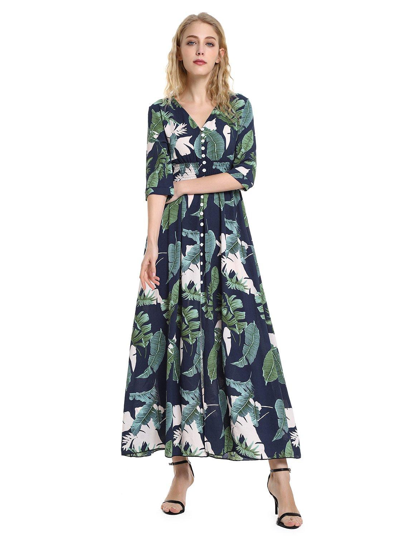 ZAN.STYLE Women's Empire Waist Button up Split Floral Maxi Dress 3/4 Sleeve Medium Blue+Green Floral