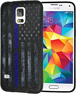 Galaxy S5 Case,Retro Thin Blue Line American Flag Slim Anti-Scratch Shockproof Leather Grain Soft TPU Back Protective Cover Case for Samsung Galaxy S5