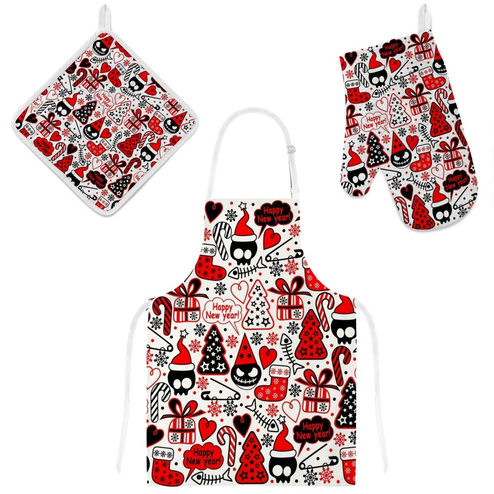 U-Life Apron with Glove Oven Mitt Pot Holder Set Christmas New Year Winter Red Skull Tree Boo for Women Men Kids