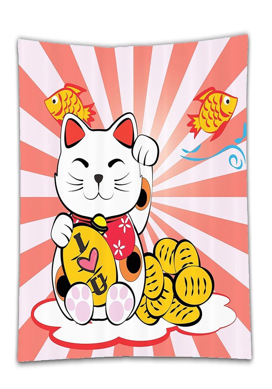 Chaoran Tablecloth Cat by Japanese Lucky Cat Meneki Neko Gold Coin Fish Koi Goldfish I Love You Red Sunlights Sun Bathroom Eastern Asian Decor Fabric Fun Coral Yellow Holiday Home Decorative