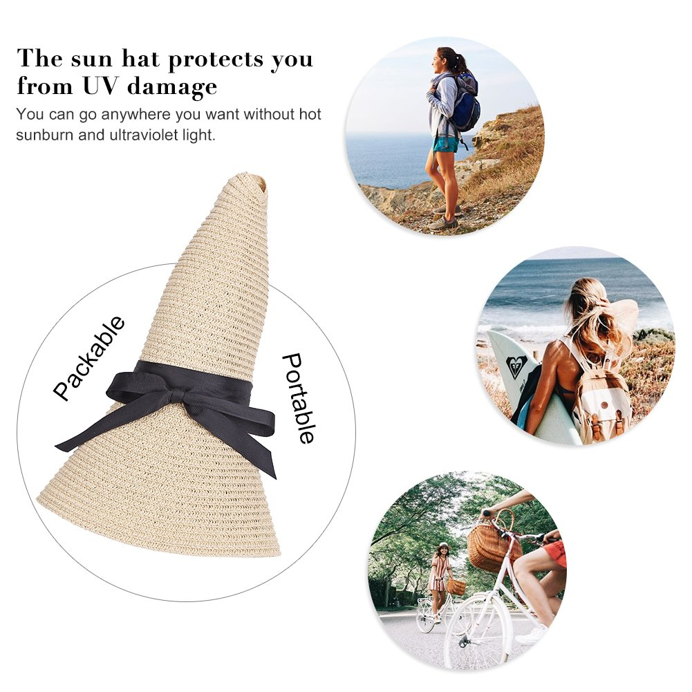 Sun Hats UV Protection Wide Brim Summer Hat UPF 50+, Foldable Floppy Travel Packable Beach Hats (Beige-01) by teemzone (Image #6)