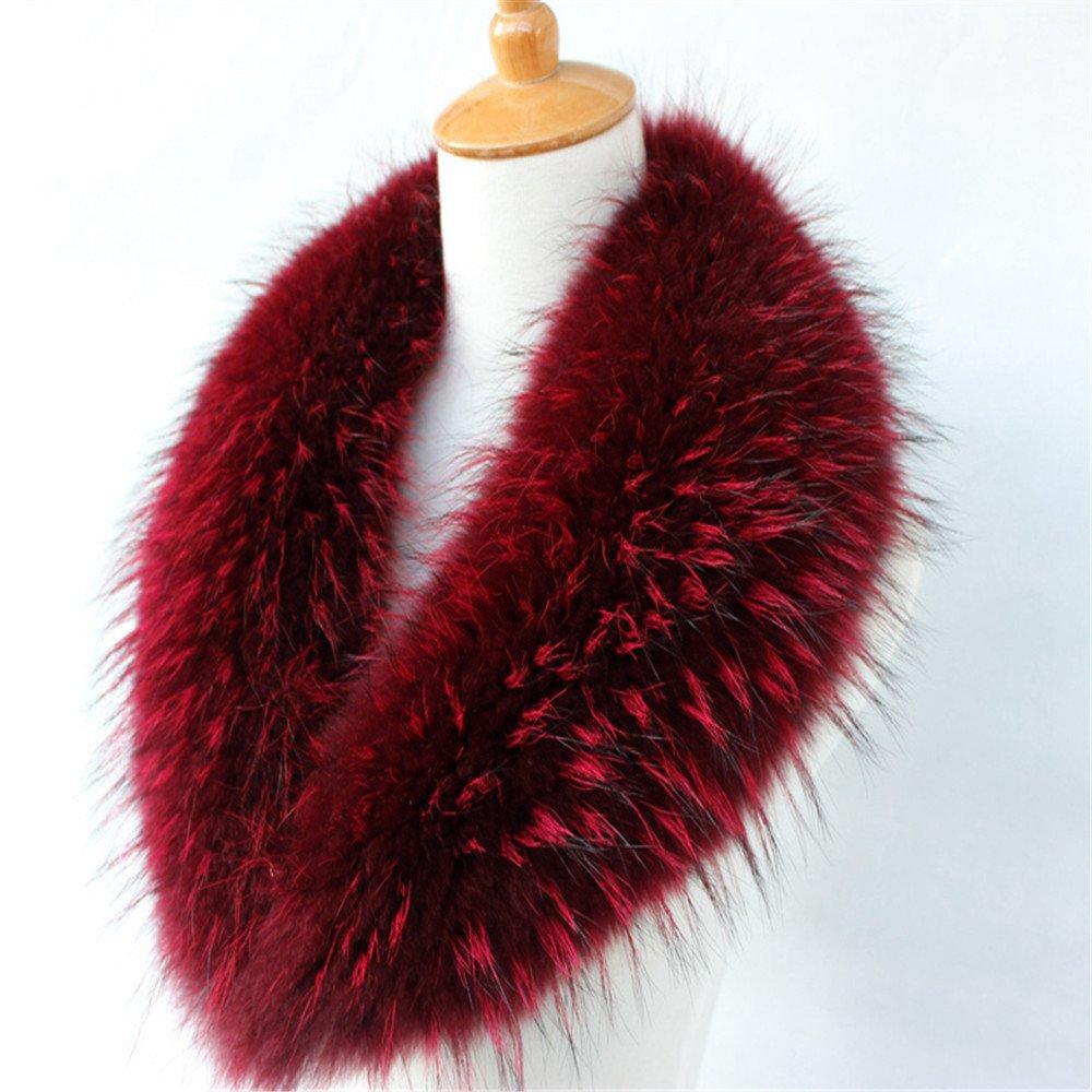 真アライグマ毛皮の襟マフラー生きgegefur女子6色 B01N9P86N2 80cm|ワインレッド ワインレッド 80cm
