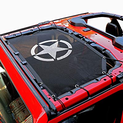 cartaoo Sunshade Mesh UV Protection Bikini Top Cover Net for 2020-2020 Jeep Wrangler JL JLU 4-Door Version (JL 2/4-Door Five-Star): Automotive