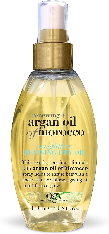 OGX Aceite de Argán de Marruecos, aceite seco ligero revitalizador, aceite, pelo radiante, sedoso, suave, brillante, antiencrespamiento - 118 ml