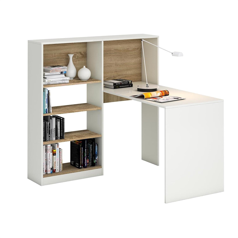 Schreibtisch weiß mit regal  Schreibtisch Eckschreibtisch Bürotisch FRIDA, in weiß / Sonoma ...