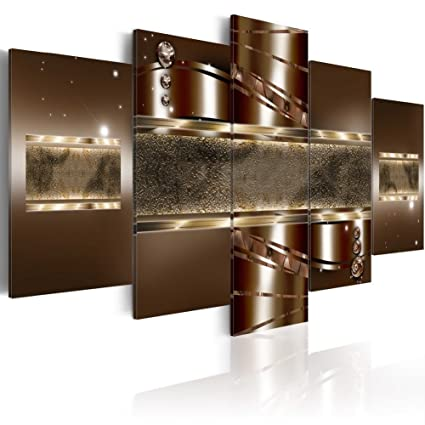 Extra Huge Brown Canvas Art Prints Contemporary Wall Decor Framed 5 Pieces  Painting Modern Home Office Decoration for Bedroom Ready to Hang (40x80,
