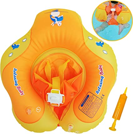 11-22lbs Baby Pool Float Toys Swimming Pool for Kids Infants Toddlers of 3-12 Month Summer Pool /& Water Toys Anti-Overturn Flip Baby Swimming Ring Floats with Safe Belt Bottom /& Waist Support