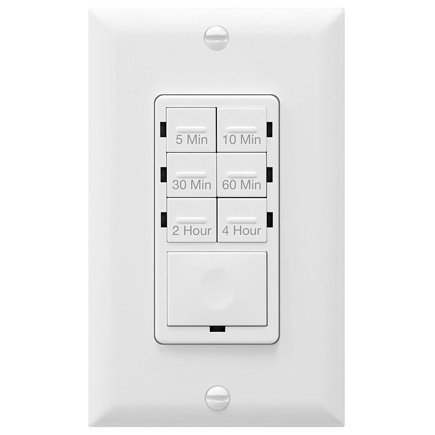 ENERLITES 4-Hour Countdown Timer Switch, 5-10-30-60 Min, 2-4 Hour, For Bathroom Fans, Heaters, Lights, LED Indicator, 120VAC 800W, No Neutral Wire Required, UL Listed, HET06-J-W, White