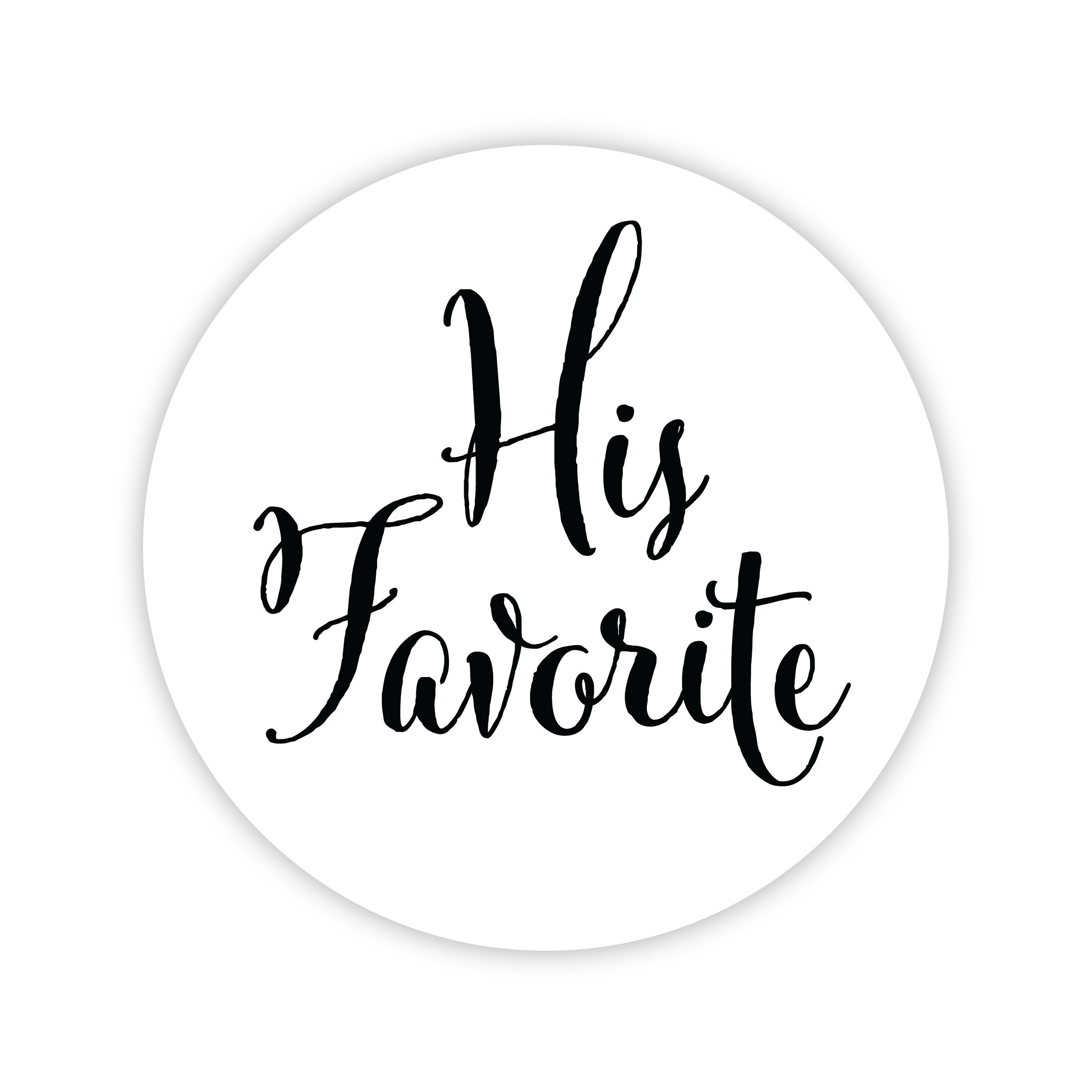 His Favorite Her Favorite Wedding Stickers, Choose Your Colors, Wedding Favor Stickers (Black on Matte - His Favorite) (402-BK)