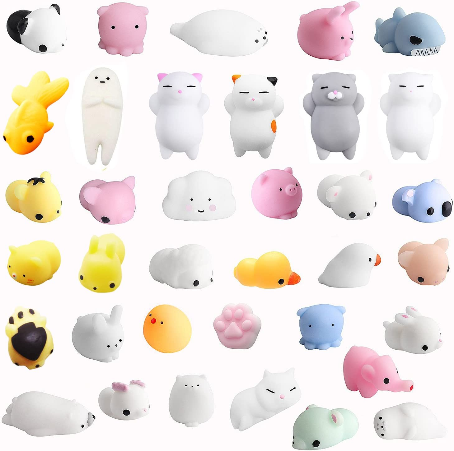 Monqi 36Pcs Squishys Kawaii Juguetes Pegajosos Oso Panda Gato de Silicona Animales Squishies (Multicolor)