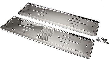 in acciaio inossidabile cromati 2/portatarga dal design sportivo di lusso