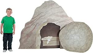 Fun Express Easter Tomb with Rock Roll Away Cardboard Stand Up - Religious Resurrection Props - Great for Sunday School Decor