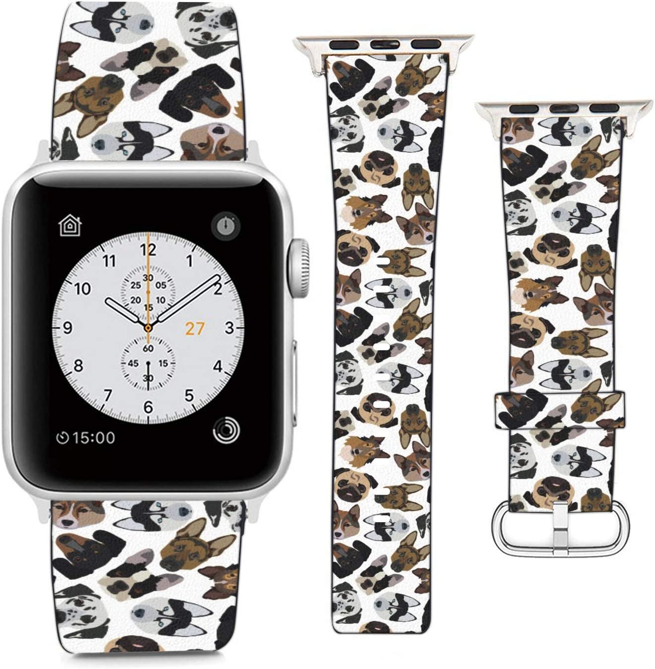 Compatible with Apple Watch Wristband 38mm 40mm, (Dogs Faces of Different Breeds) PU Leather Band Replacement Strap for iWatch Series 5 4 3 2 1