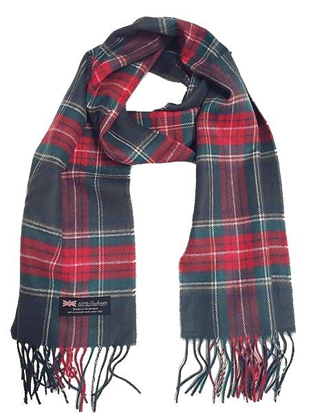 ff37b8230 Men Women 100% Cashmere Scarf Scotland Soft Wool Wrap Plaid Gray Red ...