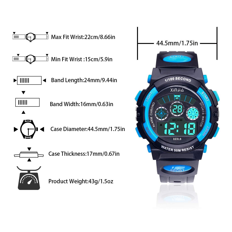 Reloj Digital para Niños,Niños Niñas 50M (5ATM) Impermeable 7 Colores LED Relojes Deportivos Multifuncionales para Exteriores con Alarma (Negro Azul): ...