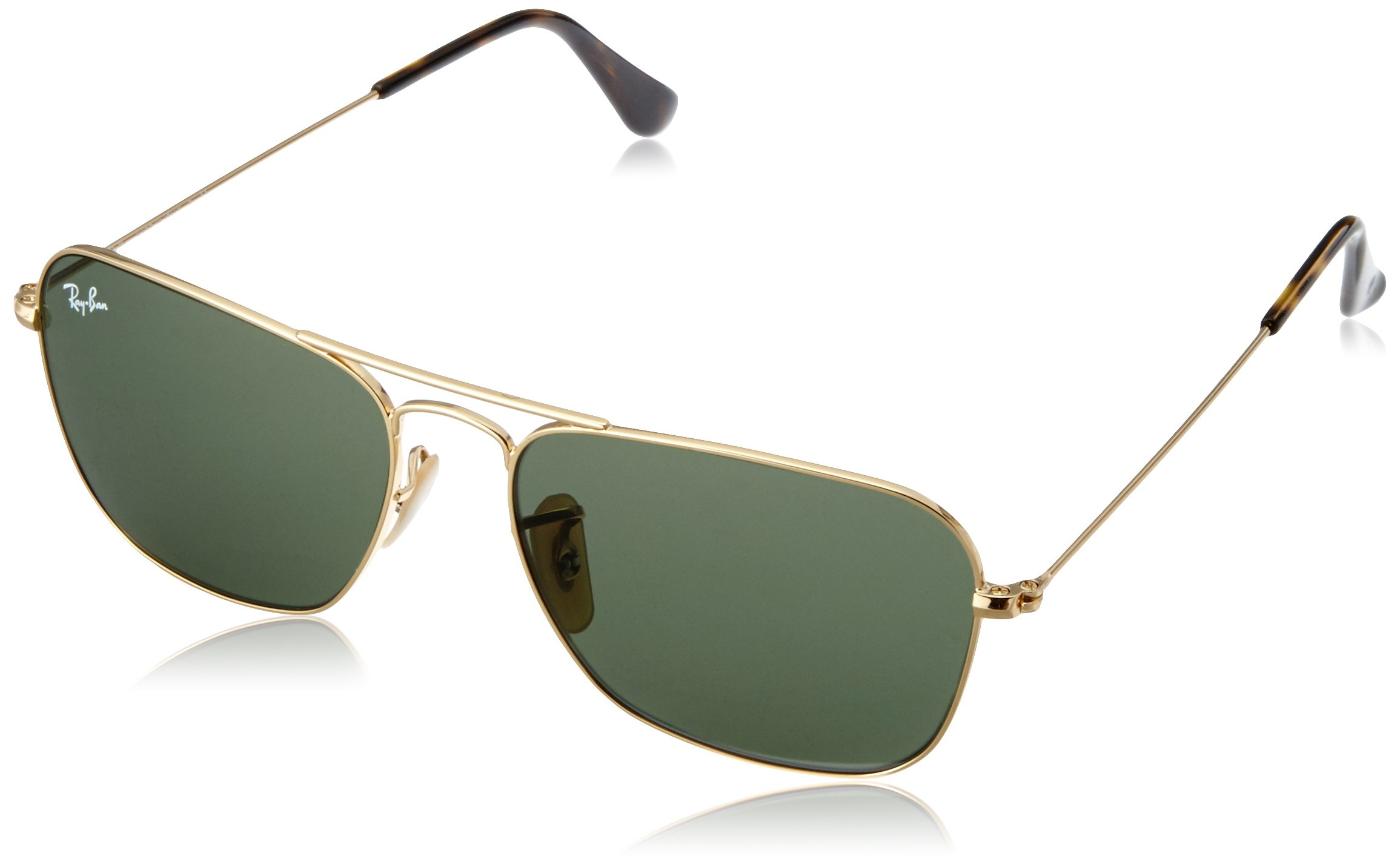 RAY-BAN RB3136 Caravan Square Sunglasses, Gold/Green, 55 mm by RAY-BAN