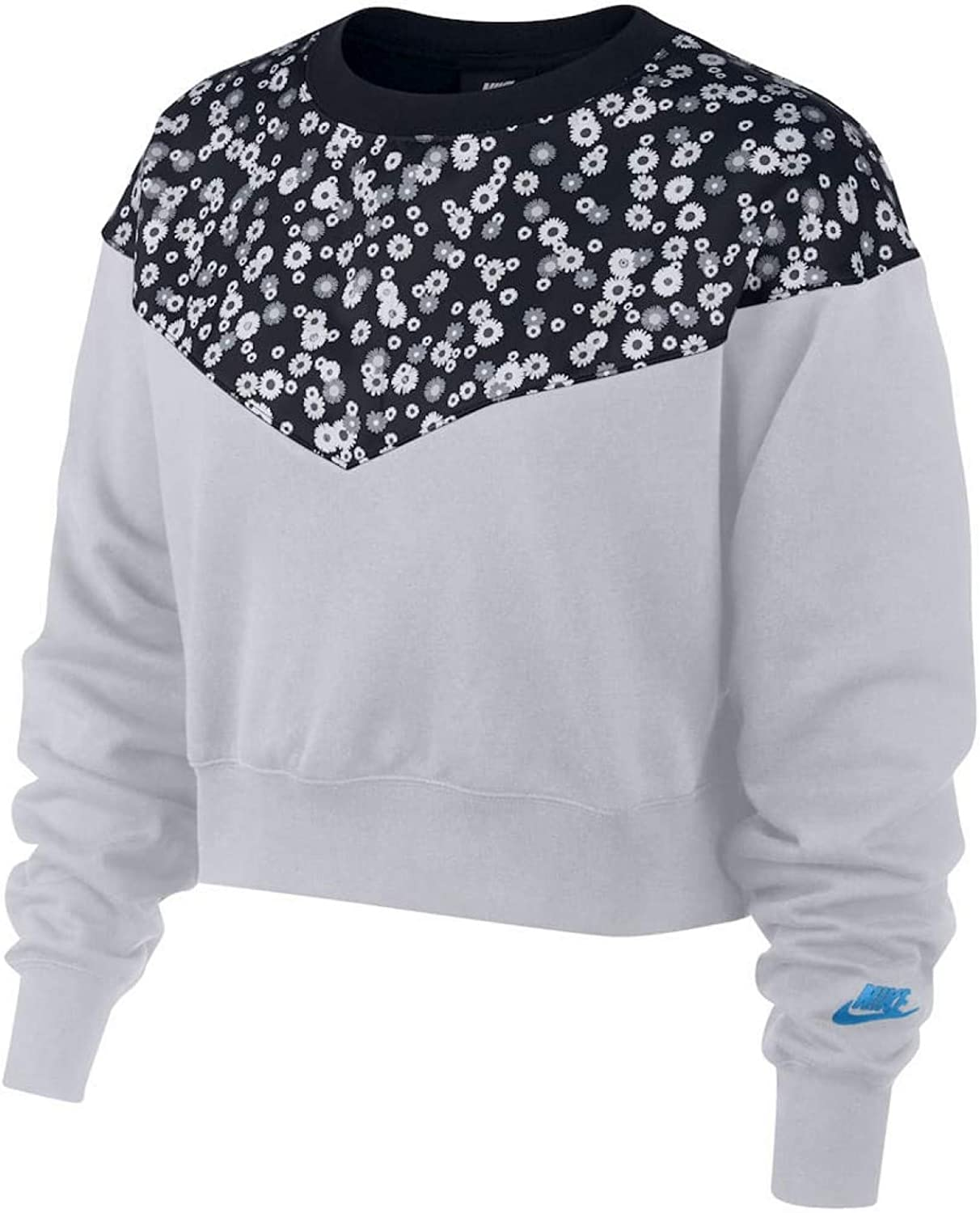 Nike Women's Sportswear Heritage Fleece Cropped Opening large release sale Floral-Print Top Limited time trial price