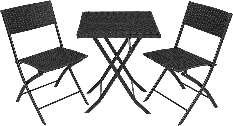 TecTake 800700 Conjunto de Ratán, 2 Sillas 1 Mesa, Plegable y Compacto, Protección UV, Ideal para Jardín Exterior Interior (Negro | No. 403196)