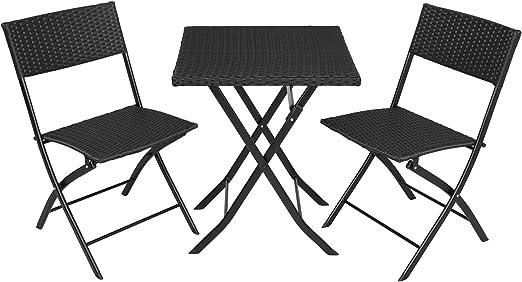 TecTake 800700 Conjunto de Ratán, 2 Sillas 1 Mesa, Plegable y Compacto, Protección UV, Ideal para Jardín Exterior Interior (Negro | No. 403196): Amazon.es: Jardín