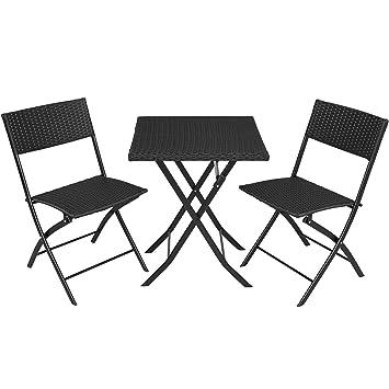 tectake 800700 Salon de Jardin résine tressée 2 Personnes, 2 Chaises et 1  Table Pliantes - Plusieurs Coloris - (Noir | no. 403196)