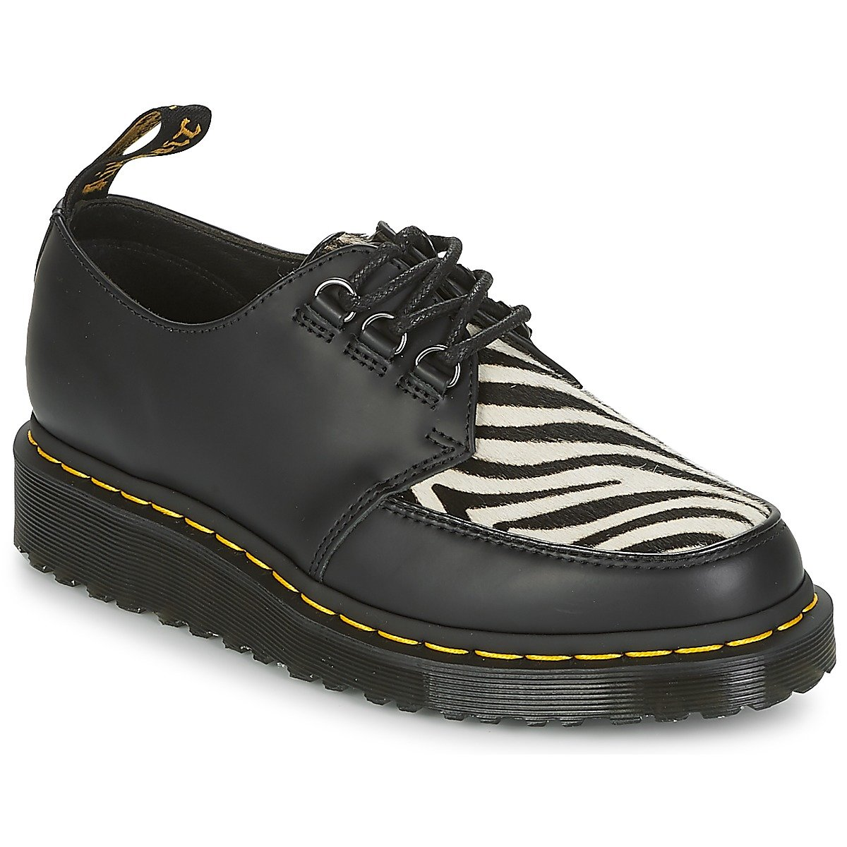Dr.Martens Womens Ramsey Zebra Leather Shoes 37 EU|Black