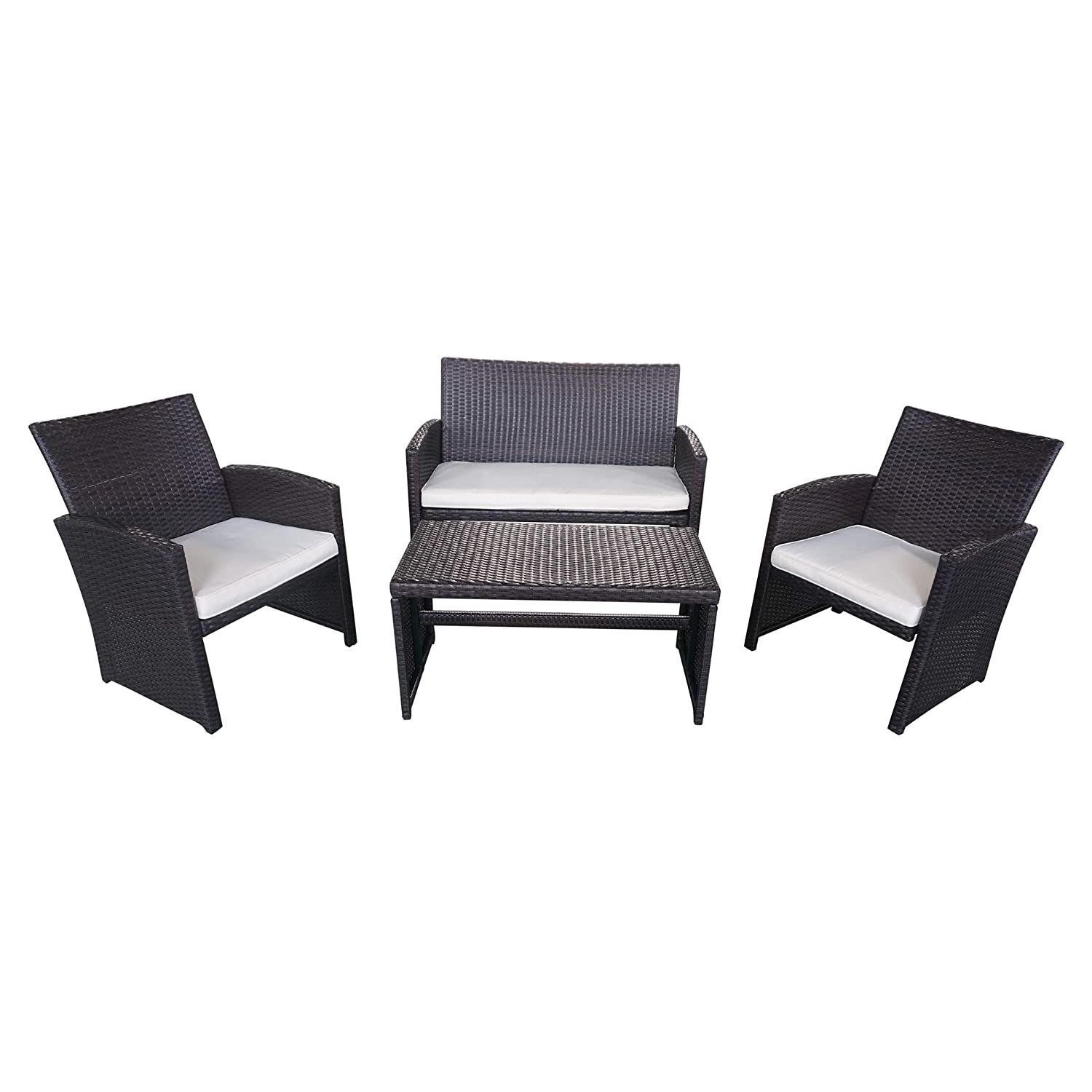 Christopher Knight Home 305820 Patio Chat Set Outdoor Wicker Seating for 4, Brown