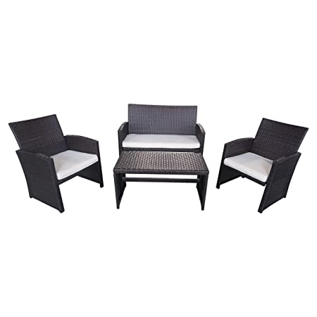 Great Deal Furniture 305820 Patio Chat Set Outdoor Wicker Seating for 4, Brown
