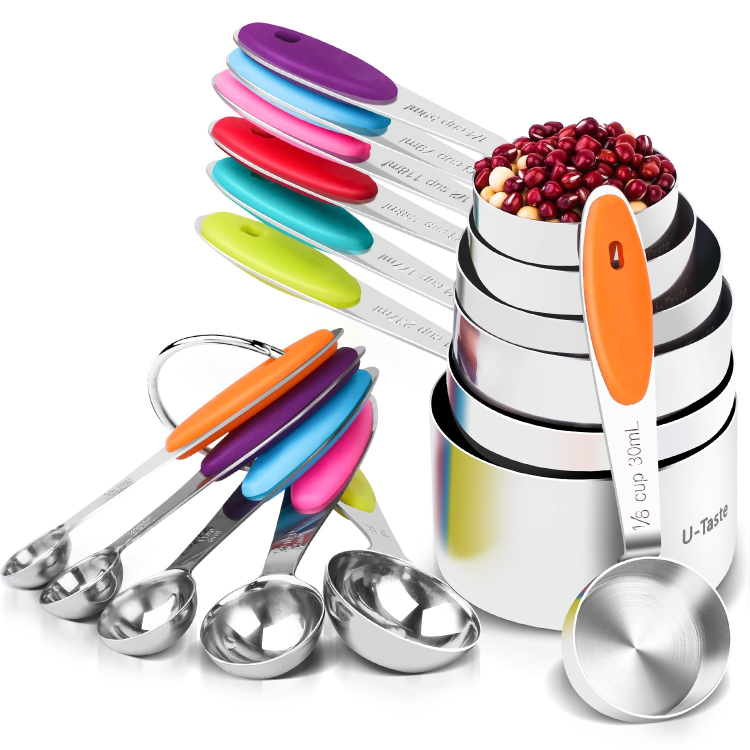 U-Taste 12 Piece Measuring Cups and Spoons Set in 18/8 Stainless Steel : 7 Measuring Cups & 5 Measuring Spoons by U-Taste