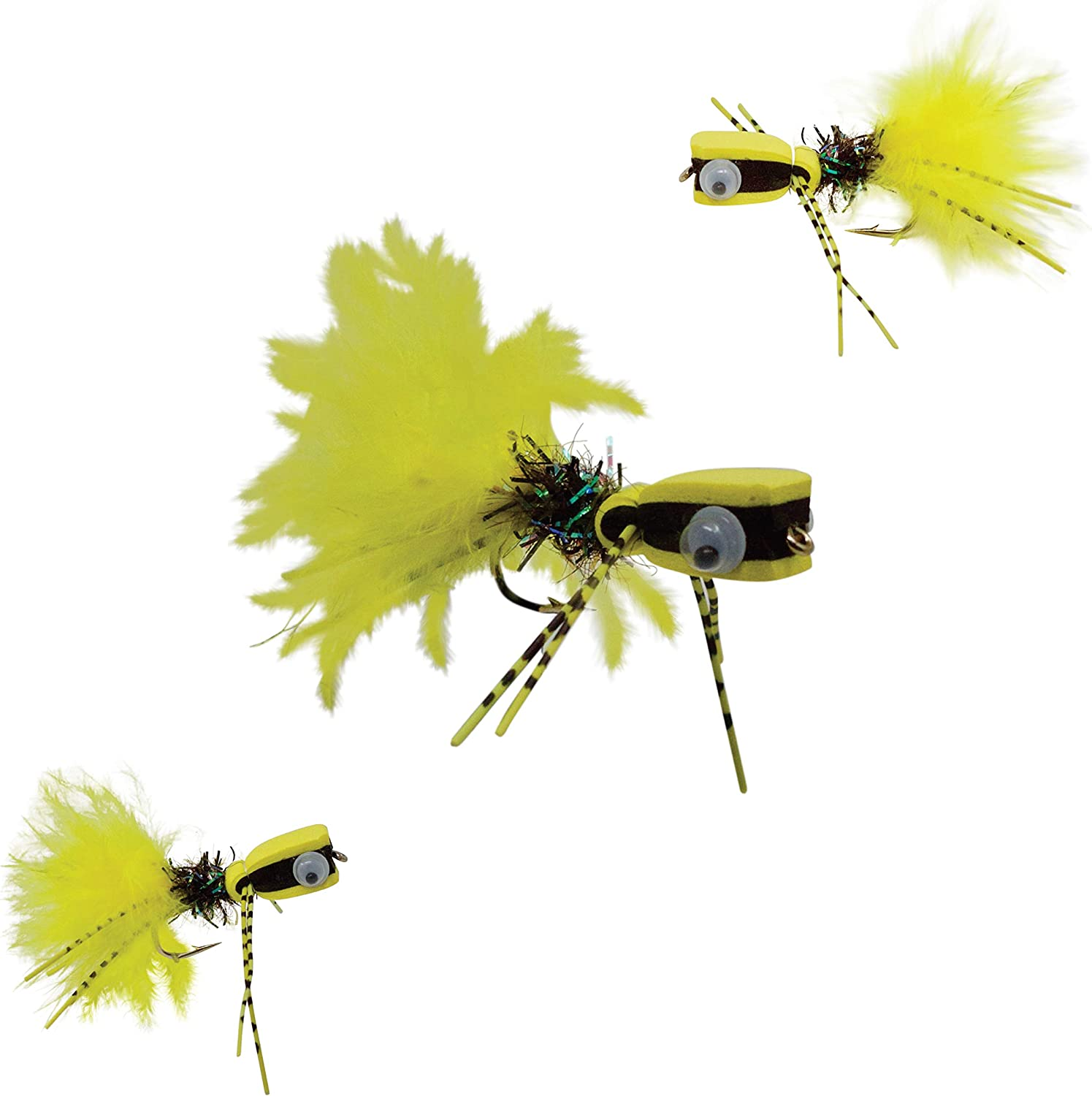 TOP WATER DRAGON FLY FLIES 3 BASS #6 HOOK NEW FLY FISHING FOR TROUT