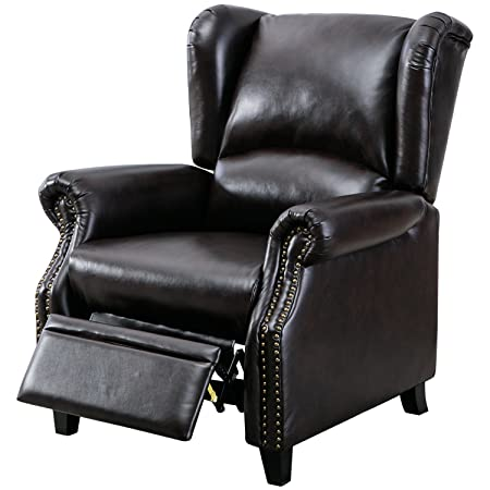 BONZY Traditional Wingback Pushback Chair Solid Wood Legs Manual Recliners Dark Brown