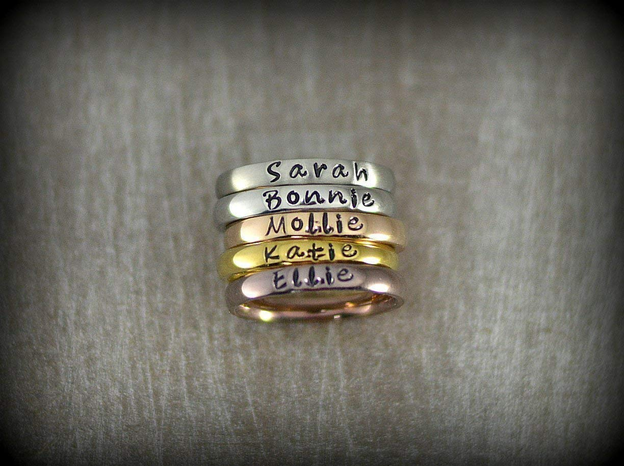 3f41c27f5 Amazon.com: Personalized Stackable Name Ring - Stacking Rings - Matte,  Shiny, Rose Gold, Gold and Coffee Colors - 3mm Width: Handmade