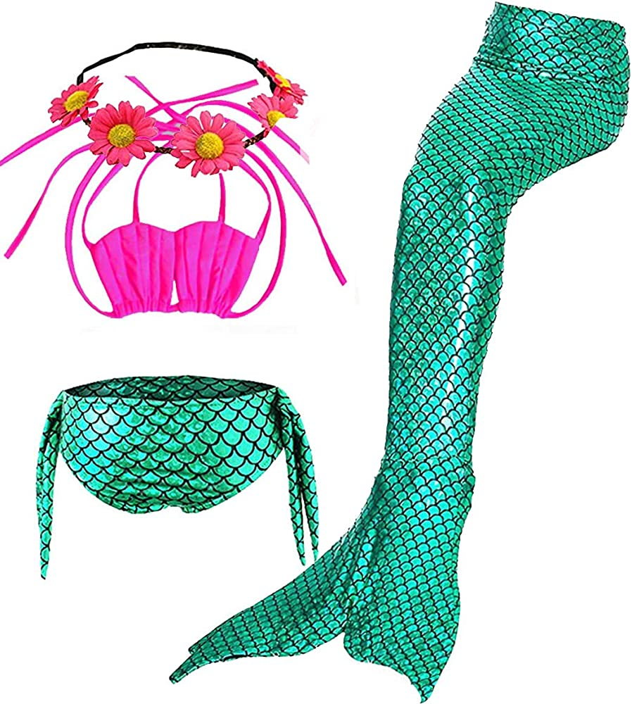 Cckuu Kid Girl Colorful Mermaid Tail Swimsuit Sets Sea-Maid Swimwear Bikini Suit