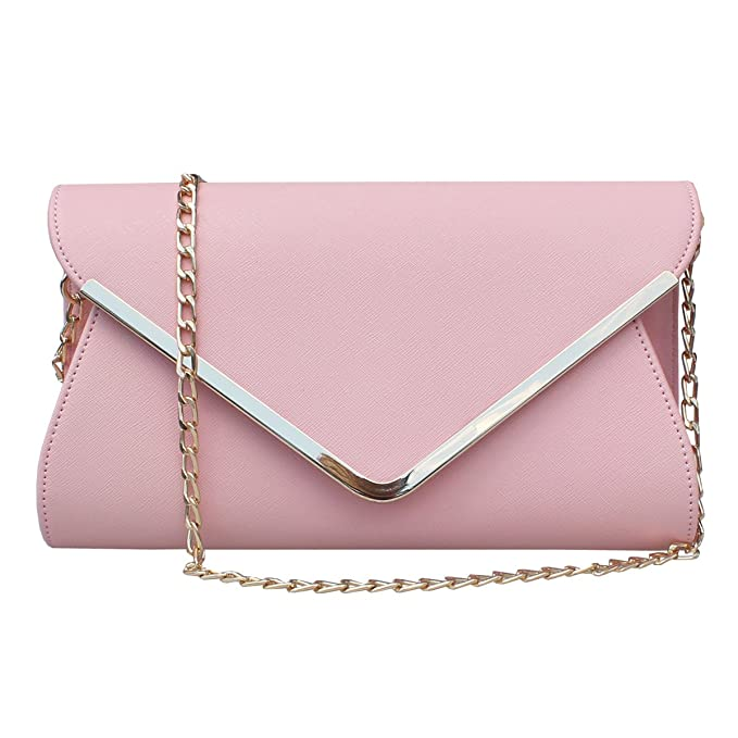 35073d62459 Womens Faux Leather Envelope Clutch Bag Evening Handbag Shouder Bag  Wristlet Purse With Chain Strap.