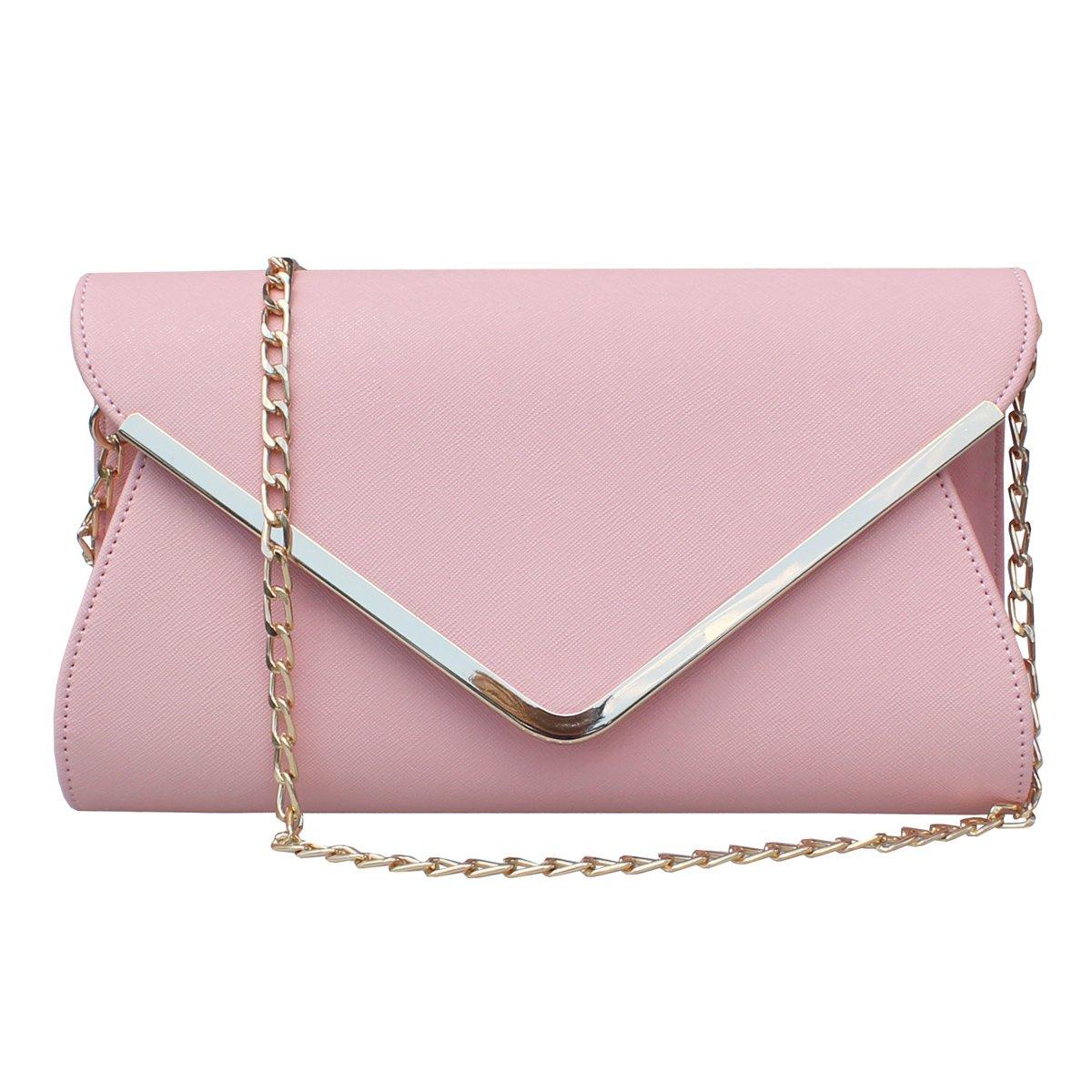 Womens Faux Leather Envelope Clutch Bag Evening Handbag Shouder Bag Wristlet Purse With Chain Strap. (Pink)