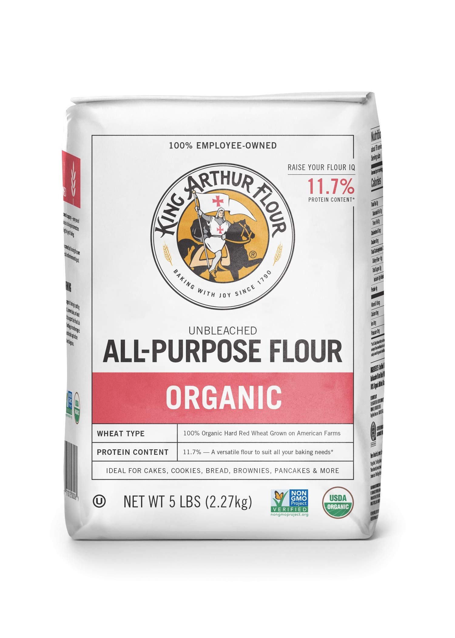 King Arthur Flour 100% Organic Unbleached All-Purpose Flour, 5 Pound (Pack of 6) by King Arthur Flour