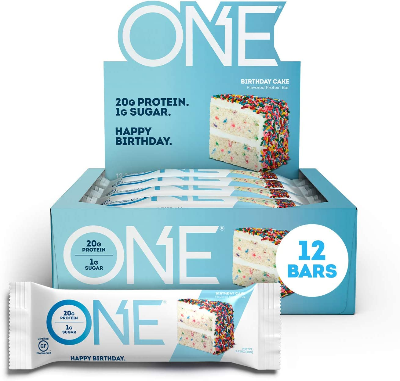 ONE Protein Bars, Birthday Cake, Gluten Free Protein Bars with 20g Protein and only 1g Sugar, Guilt-Free Snacking for High Protein Diets, 2.12 oz 12 Pack