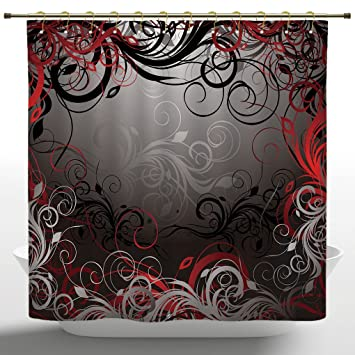 Fancy Shower Curtain By IPrintRed And Black StallMystic Magical Forest Inspired Floral