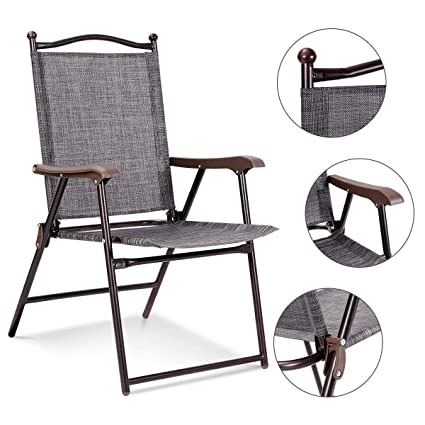 09226bf7199 Amazon.com : KCHEX>Set of 2 Patio Folding Sling Back Chairs Camping ...