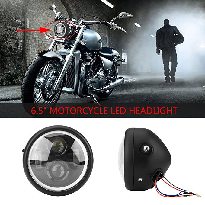 Compatible with Dyna Street Bob Super Wide Glide Headlamp For Harley Davidson Motorcycle Projector Daymaker HID LED Light Bulb Headlamp Black 12V DC Acogedor 7 LED Headlight
