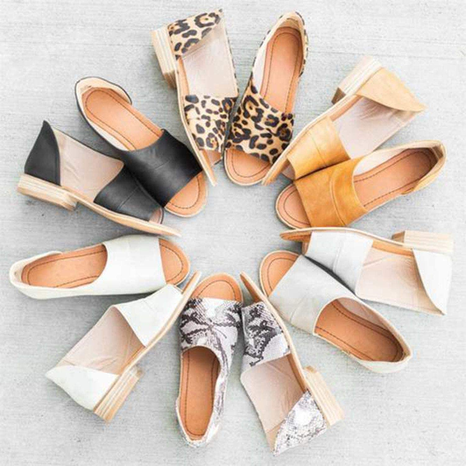 better-caress Woman Slip Footwear Chaussure Casual Sandals Peep Toe Chunky Low Heels s ies,A,10